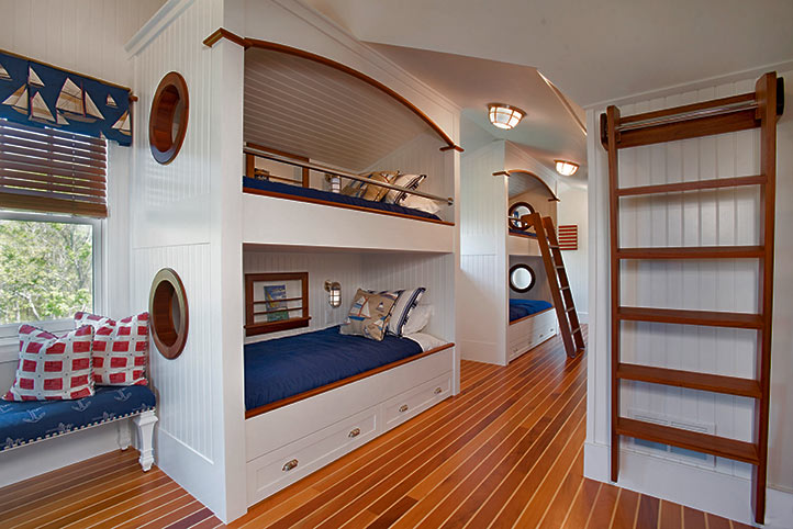 Custom bunkbeds with nautical motif.