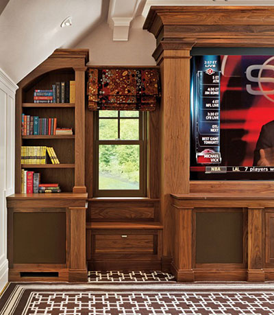 Custom built-in walnut entertainment center