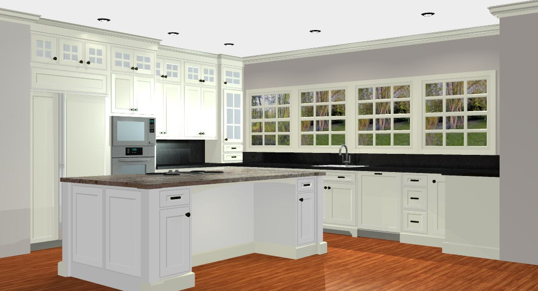 3-D CAD image of white kitchen design.
