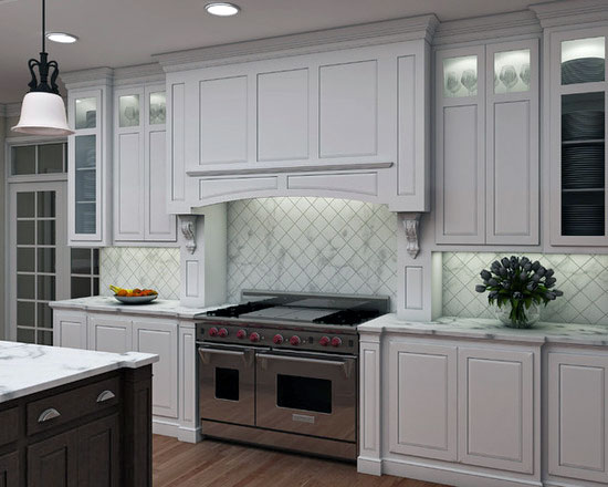 Kitchen with white cabinets and gray island.