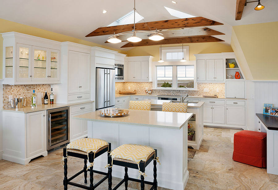 Transitional white painted cabinets.