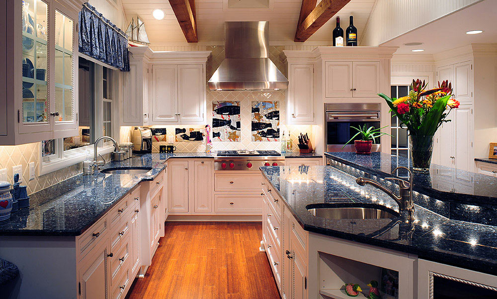 White painted kitchen cabinets in a nautical style