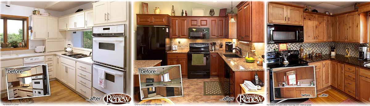 Three custom kitchens.