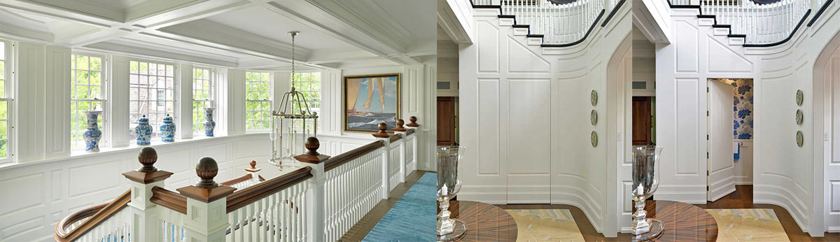 Custom staircase, wainscot, millwork, hidden doorway.